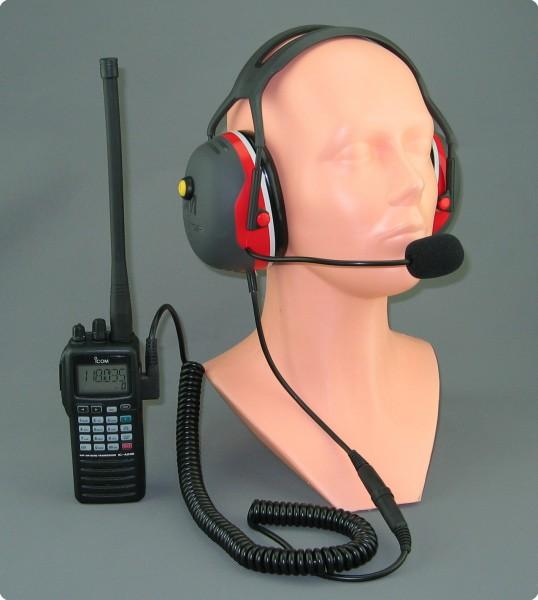 PTT-Lärmschutz Headset für Icom Flugfunkgeräte