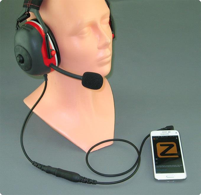 Zello Lärmschutz Headset mit PTT-Taste und Android Smartphone