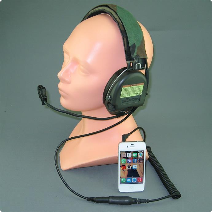 Iphone und MSA Sordin Gehörschutzheadset CAB-88 Adapterkabel